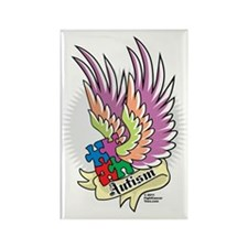 Autism-Puzzle-Wings-Tattoo Rectangle Magnet
