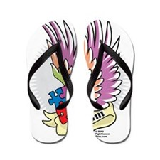 Autism-Puzzle-Wings-Tattoo Flip Flops