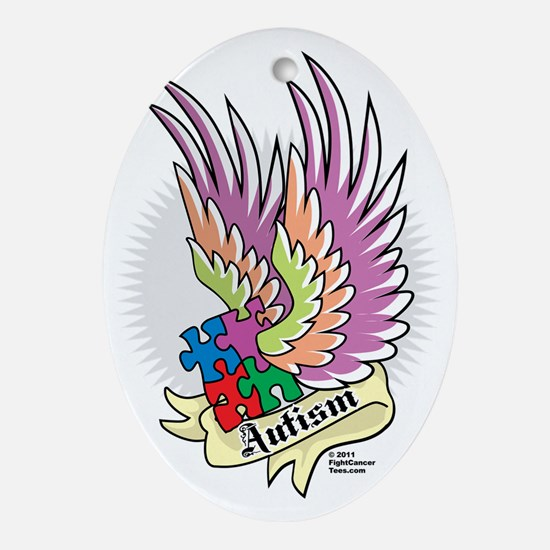Autism-Puzzle-Wings-Tattoo Oval Ornament