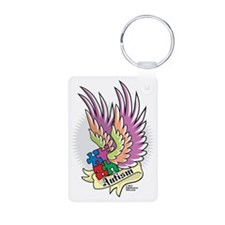 Autism-Puzzle-Wings-Tattoo Aluminum Photo Keychain