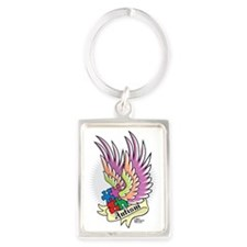 Autism-Puzzle-Wings-Tattoo Portrait Keychain