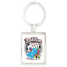 Autism-Dice-and-Cards-blk Portrait Keychain