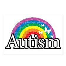 Autism-Rainbow-2-blk Postcards (Package of 8)