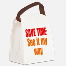 save-time_tall1 Canvas Lunch Bag