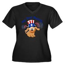 firsst-fourt Women's Plus Size Dark V-Neck T-Shirt