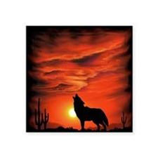 "Coyote Howling Square Sticker 3"" x 3"""