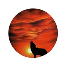 """Coyote Howling 3.5"""" Button"""