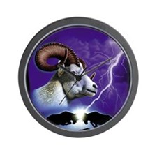 Rams and Lightning Wall Clock