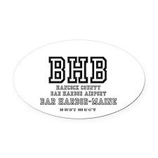 AIRPORT CODES - BHB - BAR HARBOR,  Oval Car Magnet