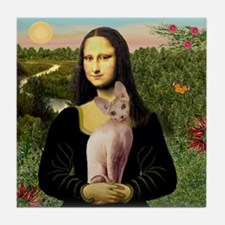 Sphynx Cat & Mona Lisa Tile Coaster
