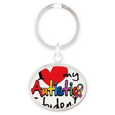 ILove-My-Autistic-Students Oval Keychain