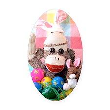 Easter Basket Oval Car Magnet