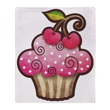 cupcake_cherry_tee Throw Blanket