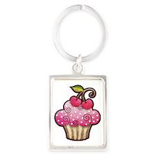 cupcake_cherry_tee Portrait Keychain