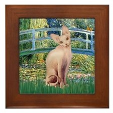 Lily Pond Bridge & Sphynx cat Framed Tile