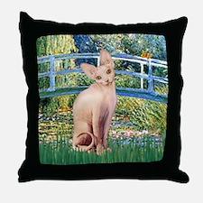 Lily Pond Bridge & Sphynx cat Throw Pillow