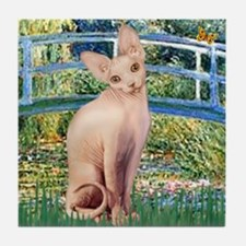 Lily Pond Bridge & Sphynx cat Tile Coaster