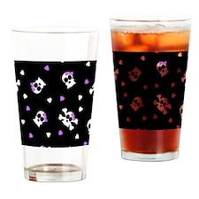 Black and Purple Cute Skulls Print Drinking Glass