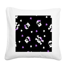 Black and Purple Cute Skulls  Square Canvas Pillow