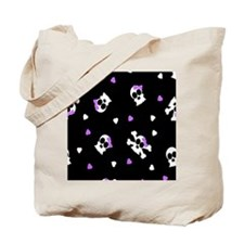 Black and Purple Cute Skulls Print Tote Bag