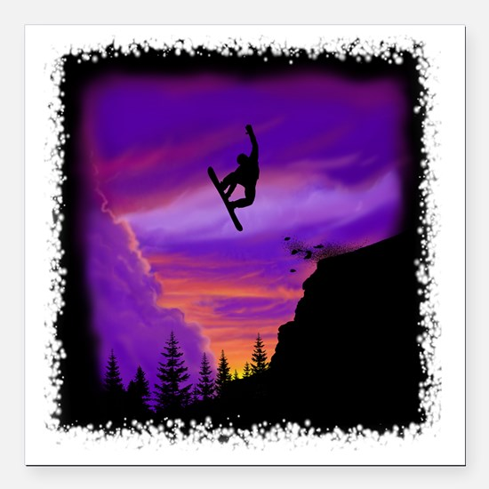 "Snowboarder off cliff Square Car Magnet 3"" x 3"""