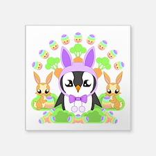"Hoppy Easterguin Square Sticker 3"" x 3"""