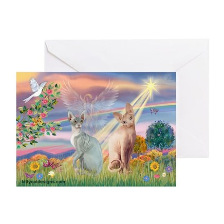 Cloud Angel & Sphnx cat Greeting Cards (Pk of 10)