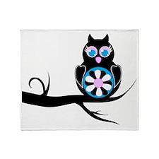 flower owl Throw Blanket