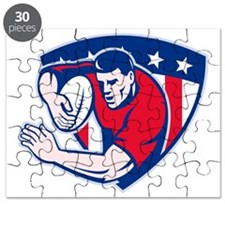 american rugby player fending with shield Puzzle