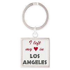 LA_10x10_apparel_LeftHeart_BlackRe Square Keychain