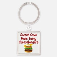 Sacred Cows Square Keychain