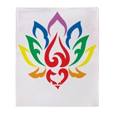 Autism-Lotus-Flower-blk Throw Blanket