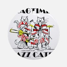 Jazz Cats in color Ragtime II Round Ornament