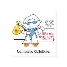 """California Boy In Exile (bo Square Sticker 3"""" x 3"""""""