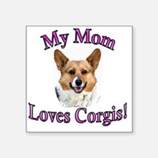 "My Mom Loves Corgis OC - pi Square Sticker 3"" x 3"""