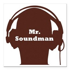 "SoundManBigRed Square Car Magnet 3"" x 3"""