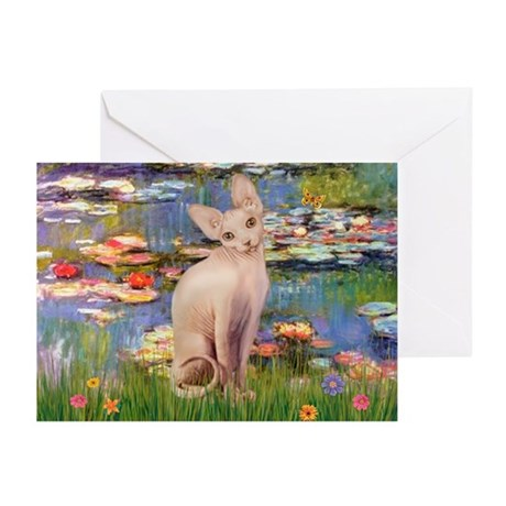 Sphynx cat and lilies. Greeting Cards (Pk of 10)