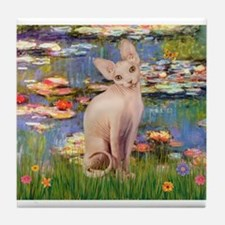 Sphynx cat and lilies. Tile Coaster