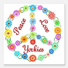 "yorkie Square Car Magnet 3"" x 3"""