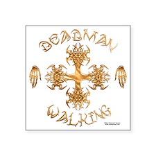 """Deadman Walking Cross Square Sticker 3"""" x 3"""""""