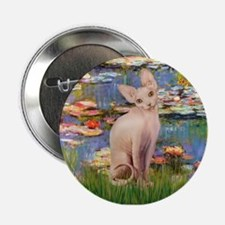 "Sphynx cat and lilies. 2.25"" Button"