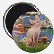 "Sphynx cat and lilies. 2.25"" Magnet (100 pack)"