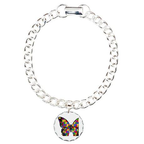 autismbutterfly-transp Charm Bracelet, One Charm