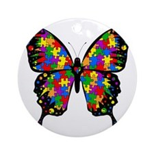 autismbutterfly-transp Round Ornament