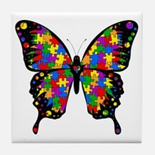 autismbutterfly-transp Tile Coaster