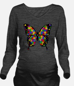 autismbutterfly-tran Long Sleeve Maternity T-Shirt