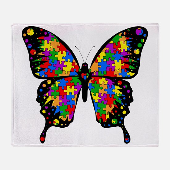 autismbutterfly-transp Throw Blanket