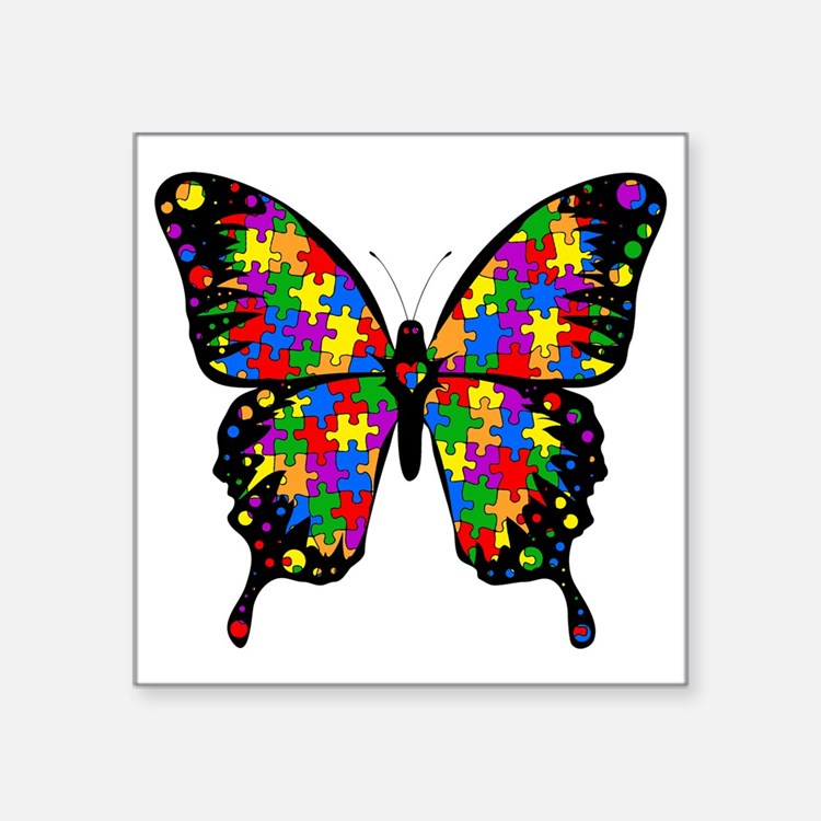 "autismbutterfly-transp Square Sticker 3"" x 3"""