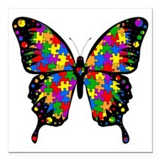 "autismbutterfly-transp Square Car Magnet 3"" x 3"""