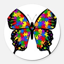 autismbutterfly-transp Round Car Magnet